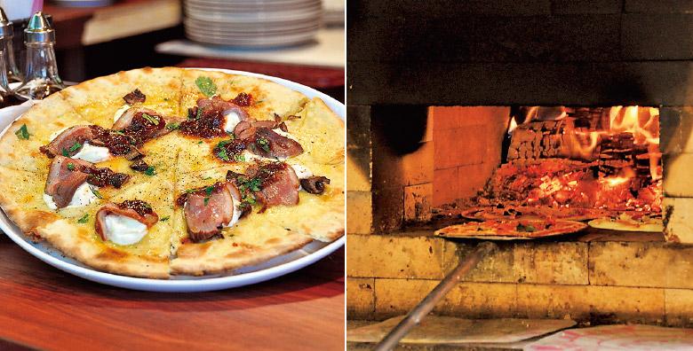 目の前で焼き上げてくれるピザ