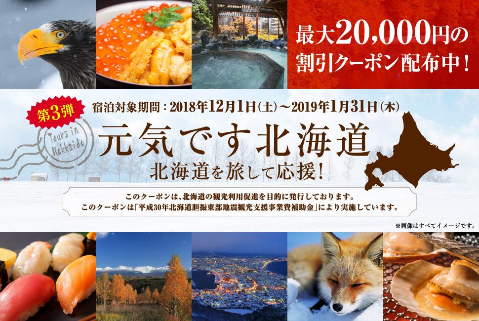 北海道旅行するなら今!るるぶトラベルで北海道ふっこう割第3弾を配布開始!