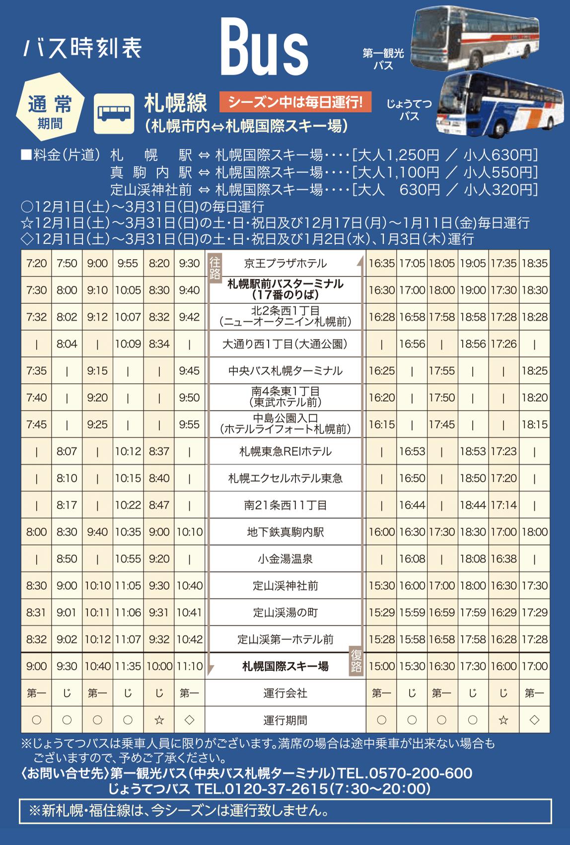 札幌国際スキー場へのバスの時刻表