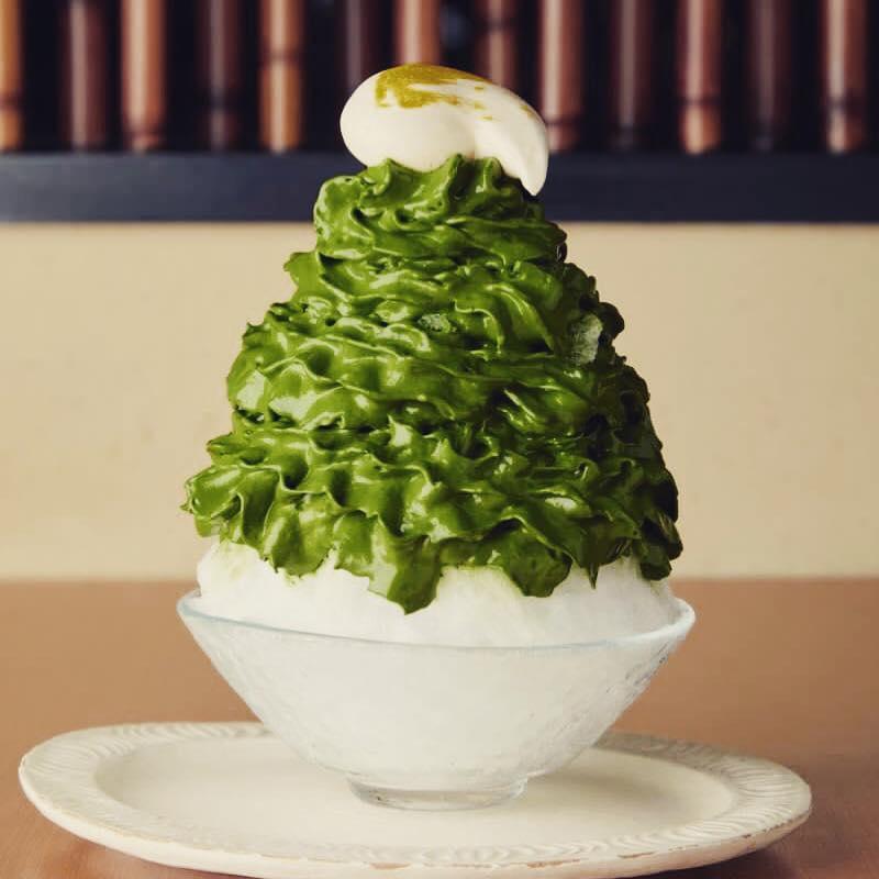 茶匠 清水一芳園のエスプーマしたての抹茶かき氷