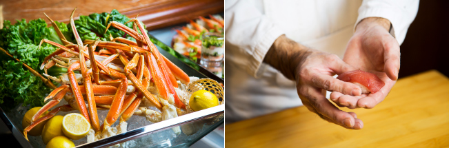左:冷静ボイル蟹 右:実演「握り寿司」