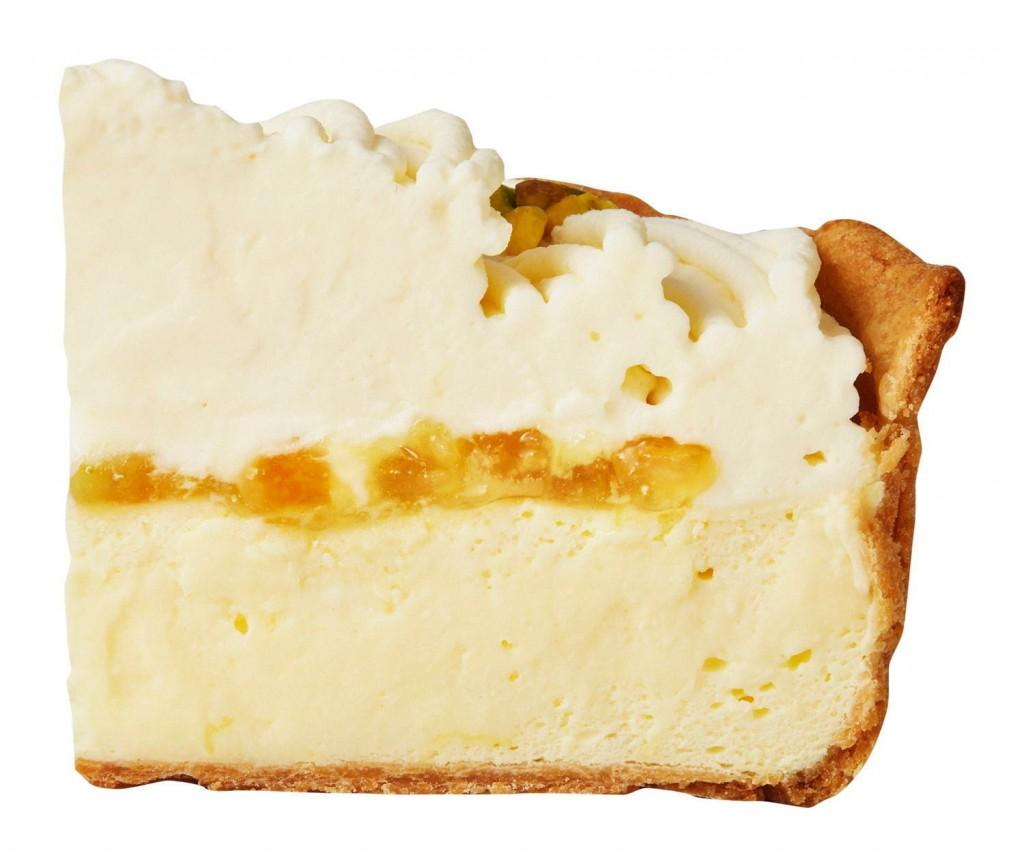 レモンカスタードのチーズタルトの断面