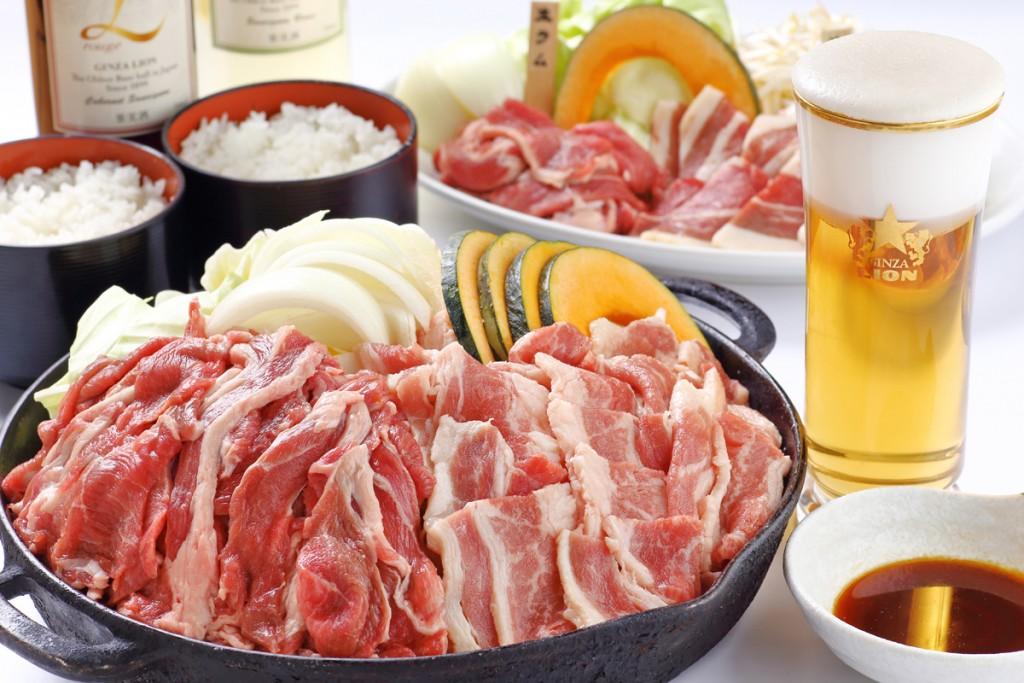 札幌開拓使ジンギスカンビヤガーデンの生ラムジンギスカン食べ飲み放題