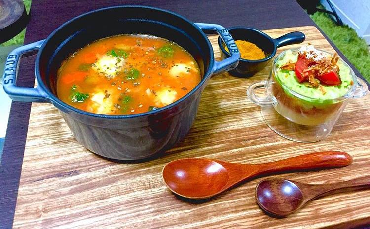 ひよこ豆とチキンのトマトスープリゾット