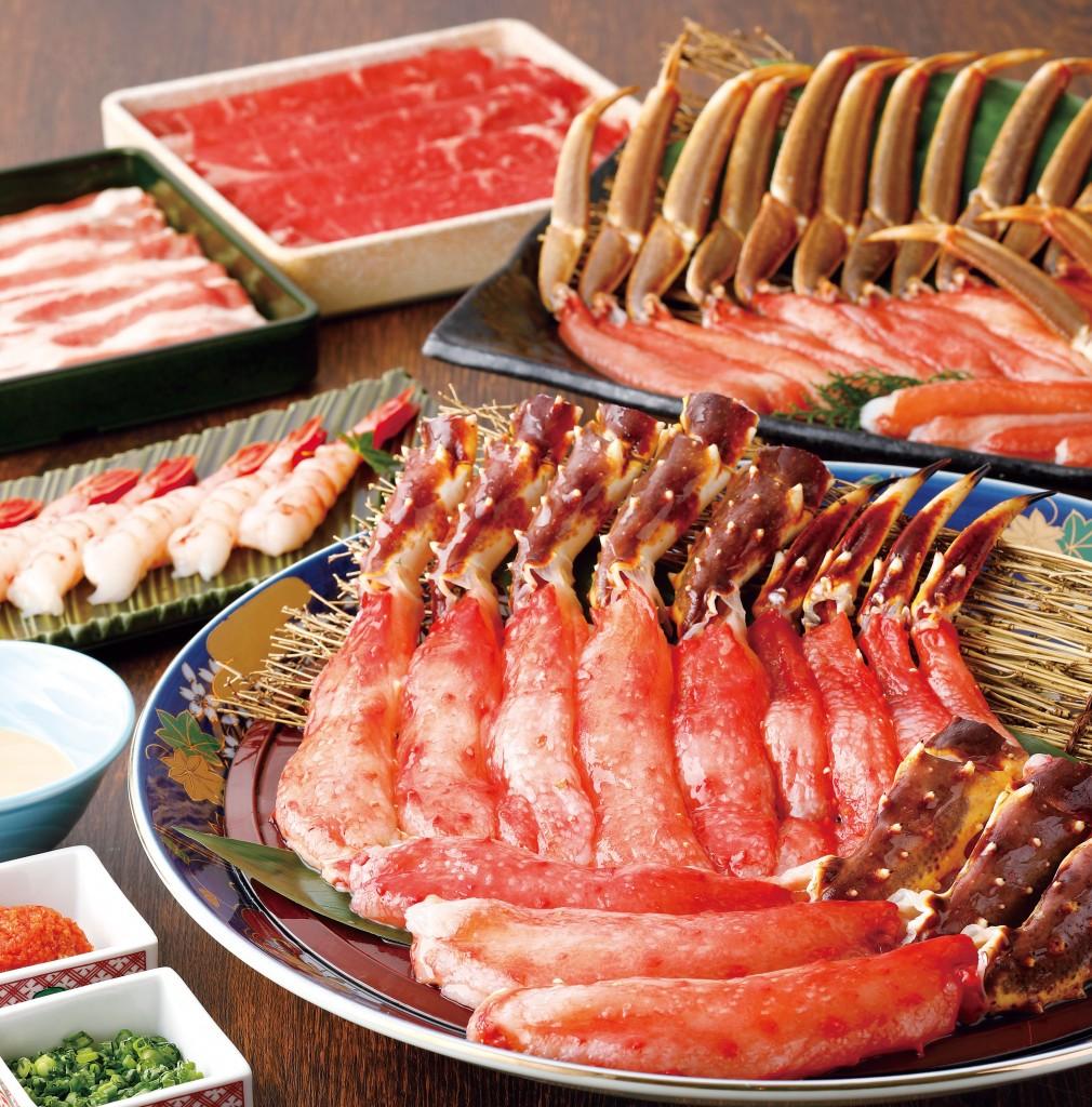 蟹のつめの本たらば・本ずわい蟹しゃぶと茹で蟹食べ放題