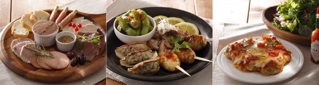 (左から)いろいろお肉の前菜、spicy&tasty!ビールがはかどる洋風おつまみ、チキンピッツァと本日のメランジェサラダ