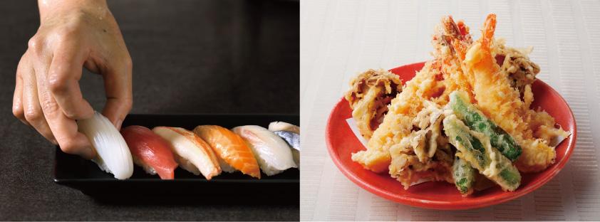 左:握り寿司 右:海老と野菜の天婦羅