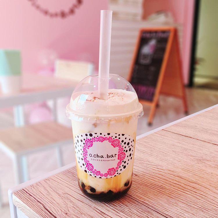 o cha bar(オチャバー)の沖縄塩黒糖バブルミルク
