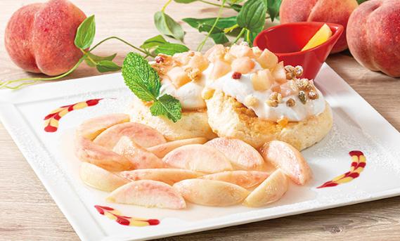 フレッシュ白桃のサマーパンケーキ…1,480円