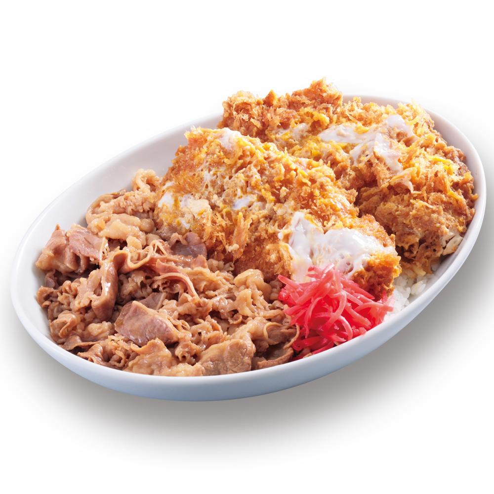 【特盛牛丼カツ丼(80gロース2枚使用)】850円+税