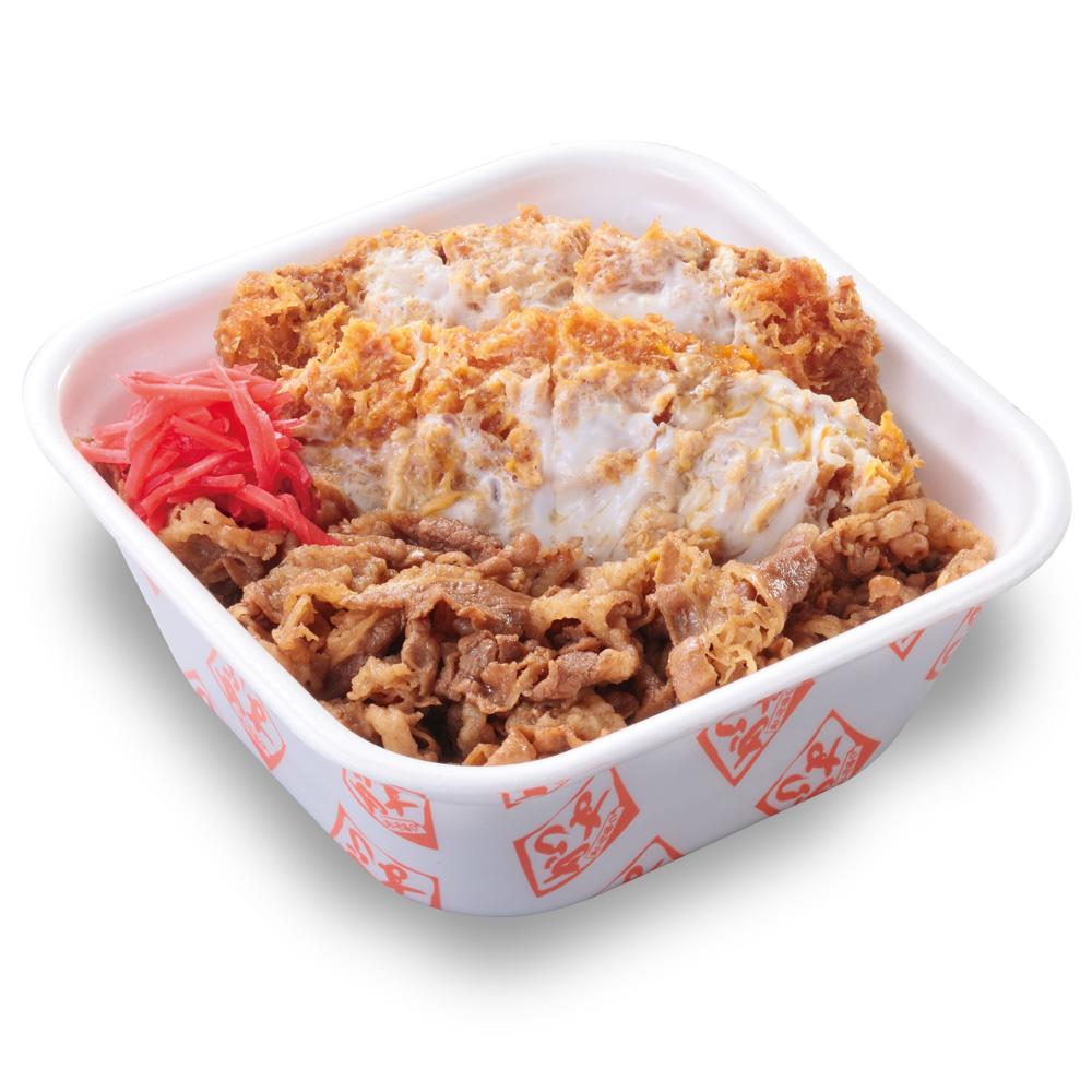 【特盛牛丼カツ丼弁当(80gロース2枚使用)】850円+税