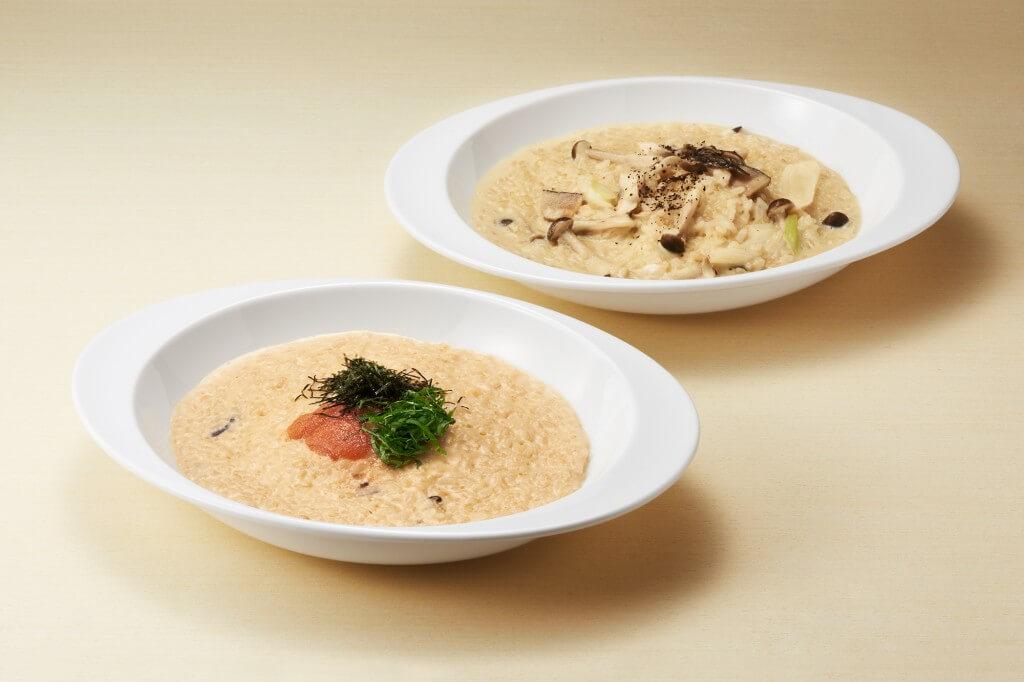 きのことチーズの豆乳味噌リゾットと明太子とチーズの豆乳味噌リゾット