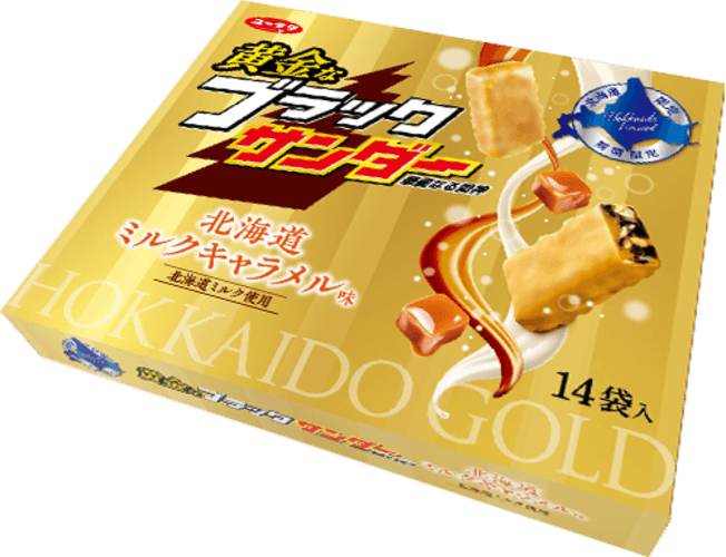 『黄金なブラックサンダー 北海道ミルクキャラメル味』パッケージ