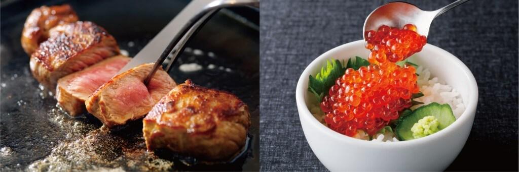 年末年始ディナーブッフェの『紅ズワイ蟹といくらののっけ寿司』・『カットステーキ~3種のソースで~』