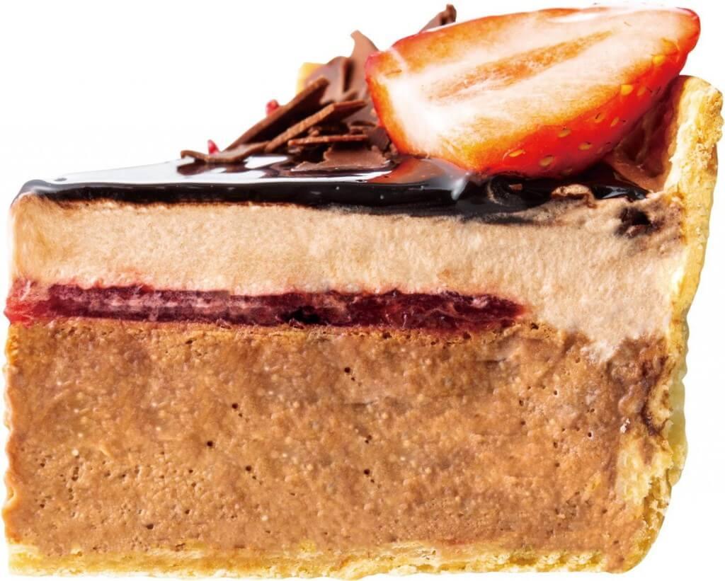 パブロの『いちごとフランボワーズのクワトロチョコチーズタルト』(断面)