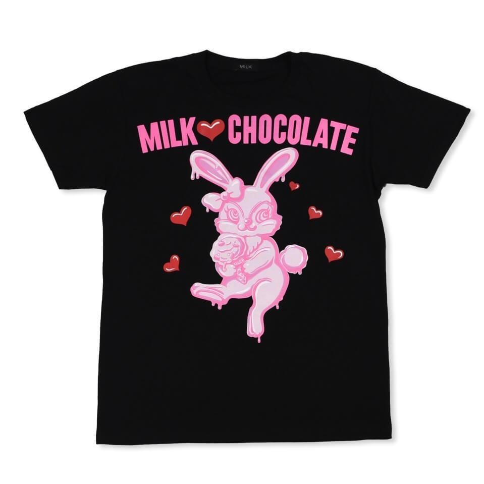 ミルクのとろけるチョコレートバニーTシャツ(黒)