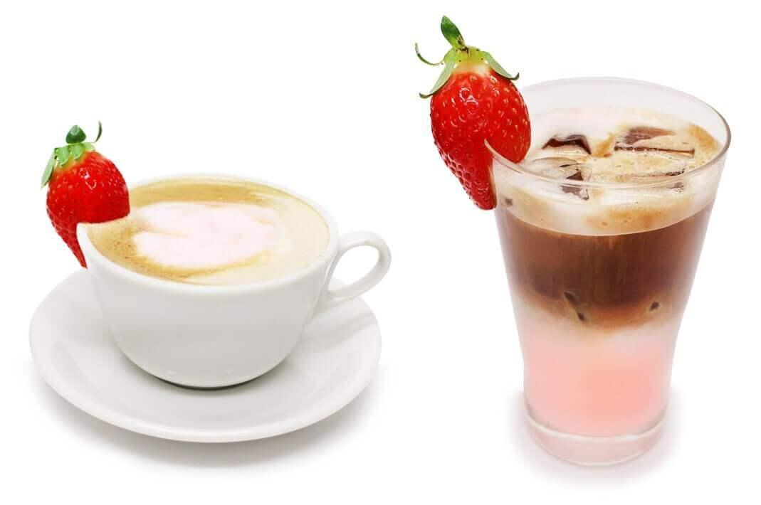 カフェコムサの福岡県産「あまおう」いちごのホワイトショコララテ(HOT・ICED):800円