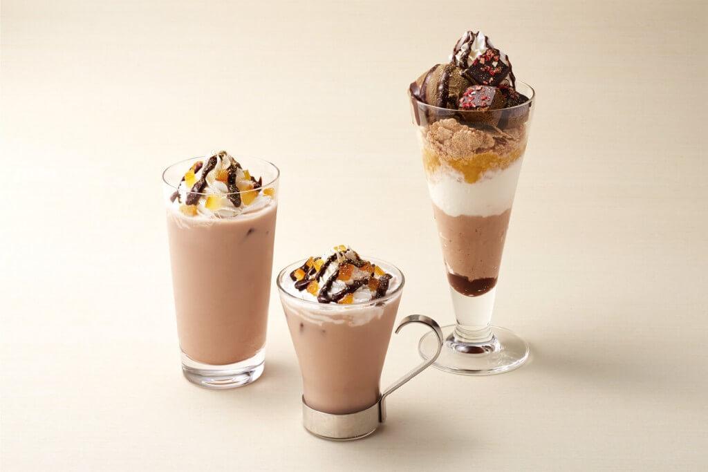 ナナズグリーンティーのほうじ茶チョコブラウニーパフェとチョコオレンジラテ