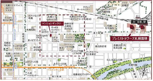 プレミストタワーズ札幌苗穂の現地案内図