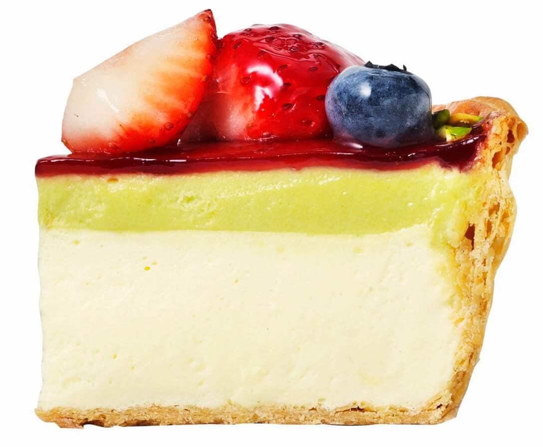 パブロの『いちごとピスタチオの春色チーズタルト』(断面)
