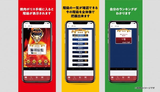 焼肉きんぐ公式アプリの『焼肉ポリス手帳』の画面