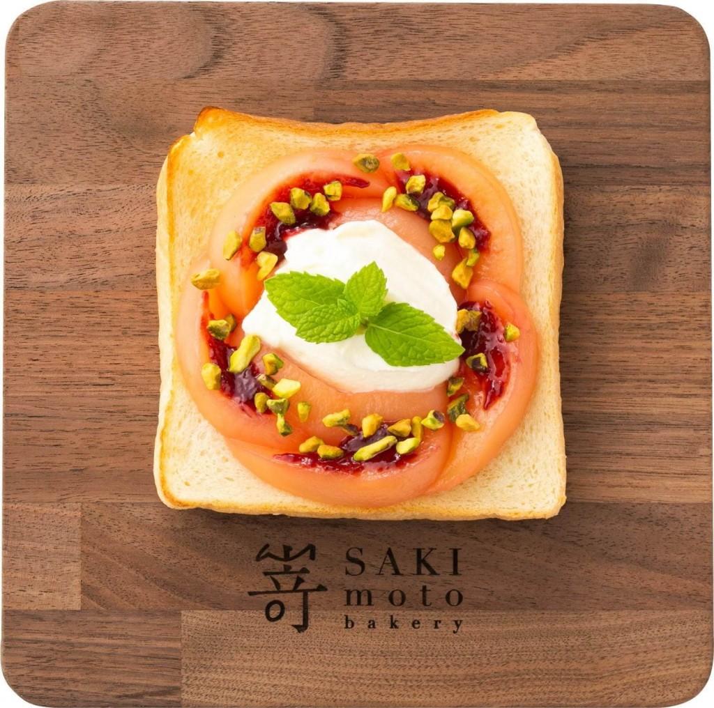 高級食パン専門店 嵜本(さきもと)の『極美オープンサンド‐白桃とマスカルポーネ 』