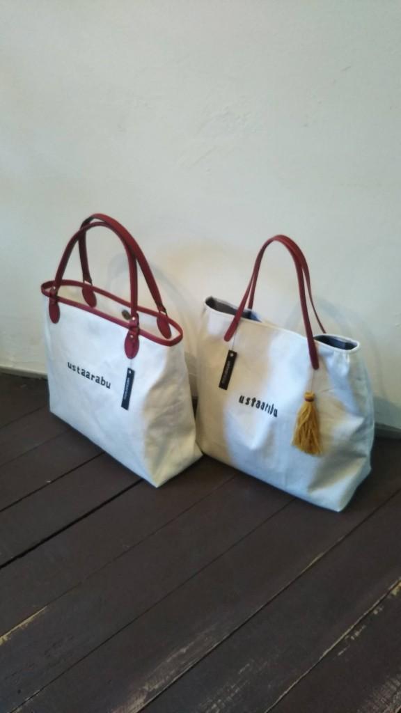 ustaarabu(ウスターラブ)の『赤と白の可愛らしい手提げタイプのバッグ』
