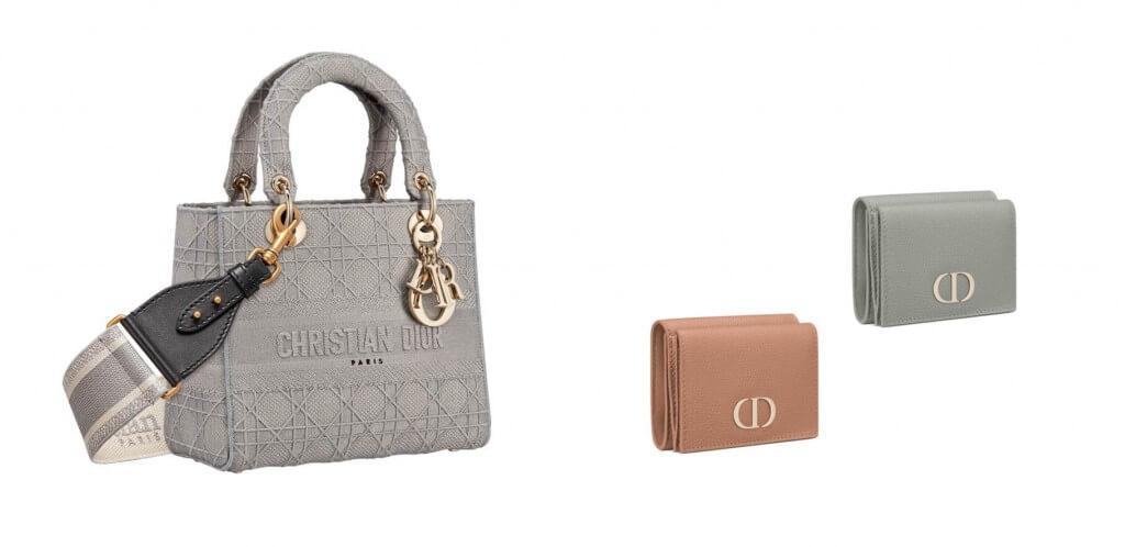 ディオールのバッグ 480,000円、ストラップ 115,000円、ウォレット 各63,000円 (いずれも税抜価格)