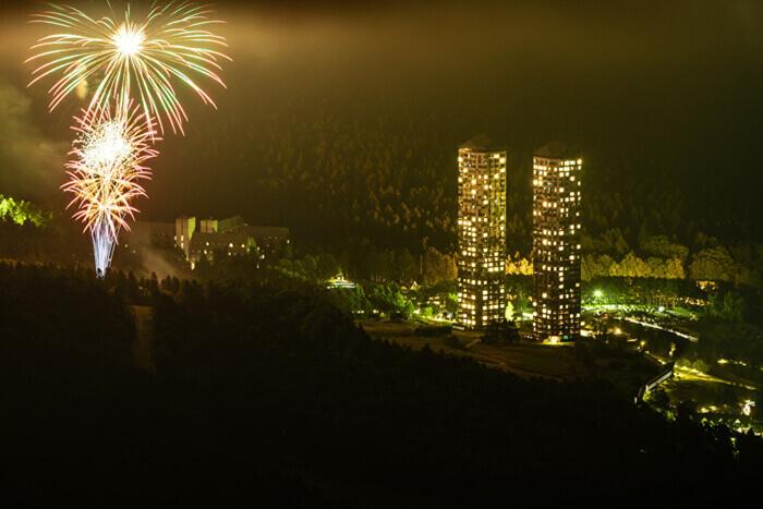 星野リゾート トマムの花火の打ち上げ