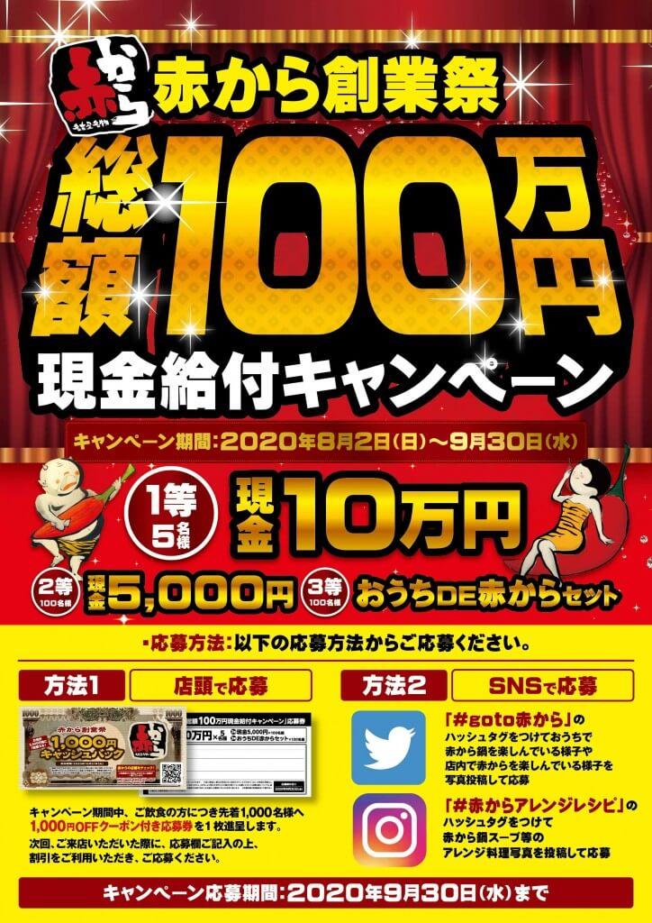 赤から創業祭-100万円現金給付キャンペーン