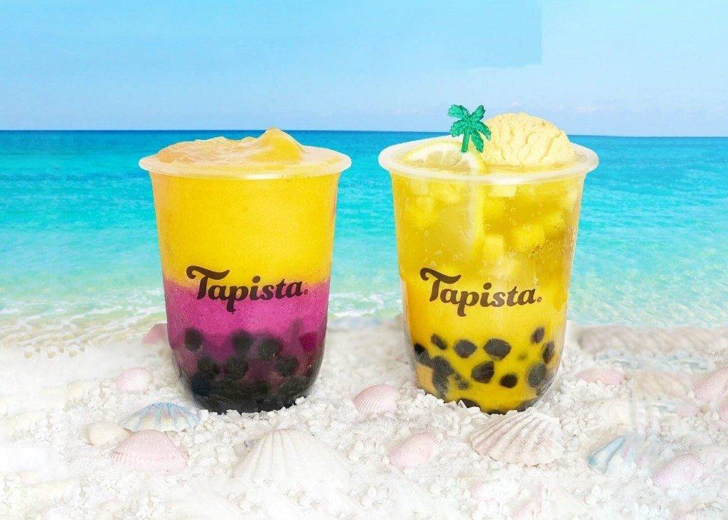 "Tapista(タピスタ)の『""ジュエルスムージー""王様マンゴー&ピンクドラゴンフルーツ』・『""ネオクリームソーダ""王様マンゴー&完熟バナナ』"