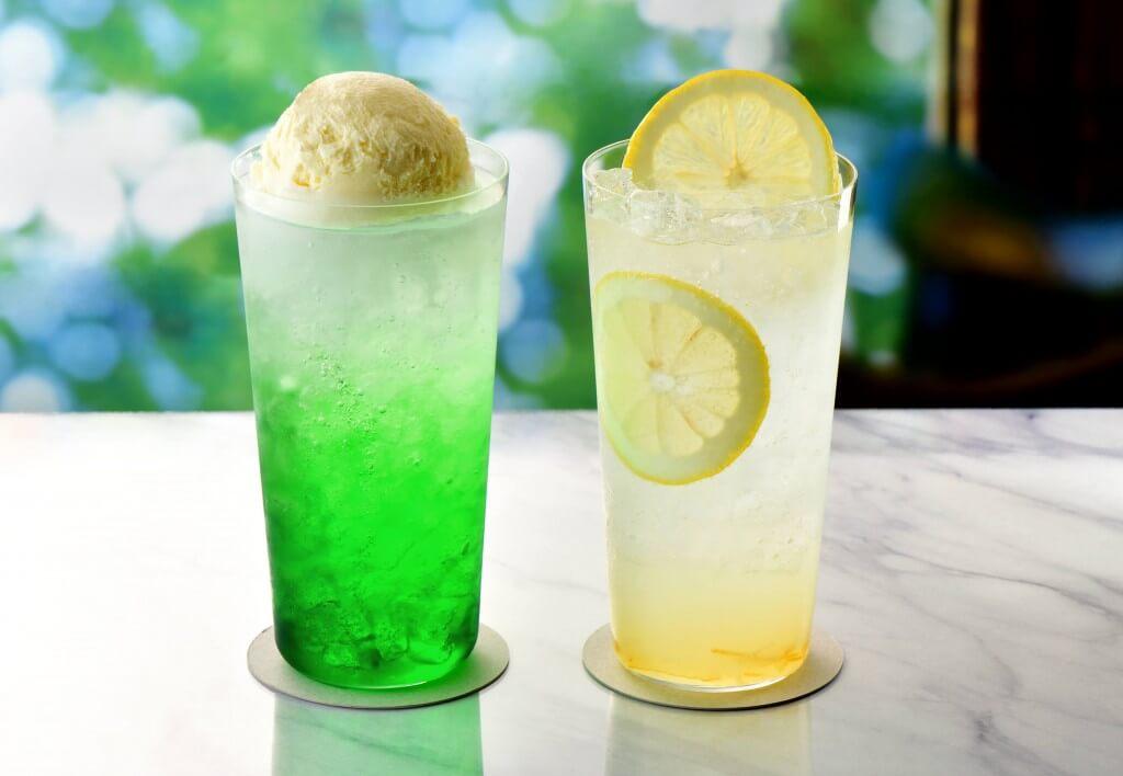 カフェ・ド・クリエの『メロンクリームフロート』『レモンスカッシュ~レモンピール入り~』