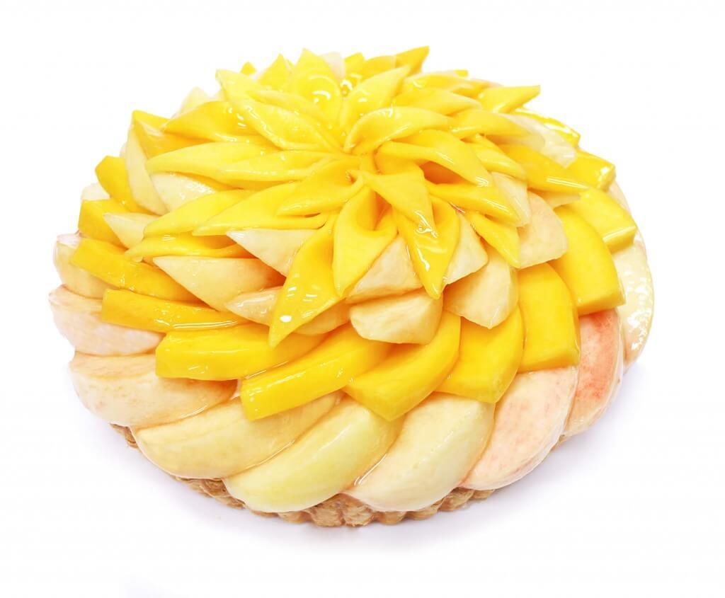 カフェコムサの桃とマンゴーのケーキ