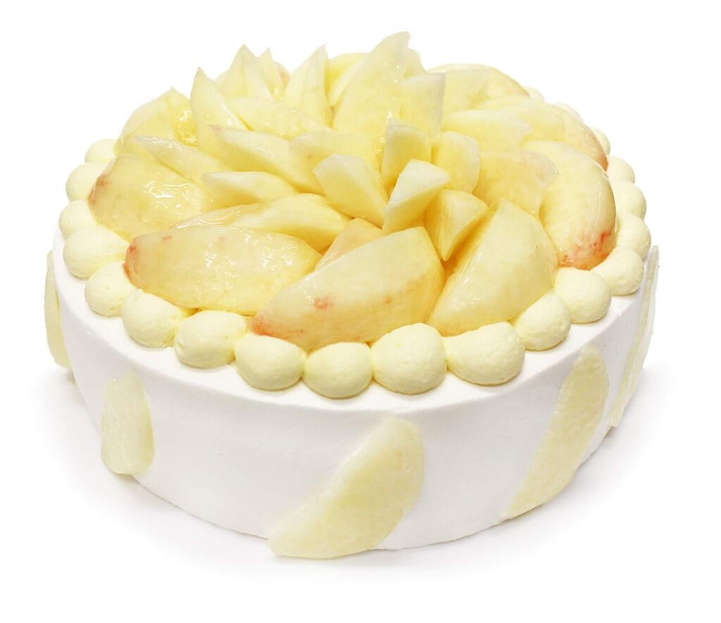 カフェコムサの桃とカスタードクリームのショートケーキ