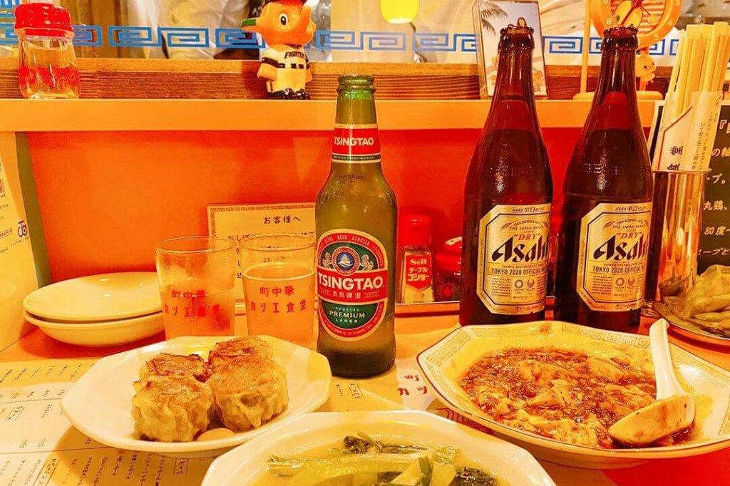 町中華 末蔵カツエ食堂の#焼シューマイと四川麻婆豆腐と青菜炒め
