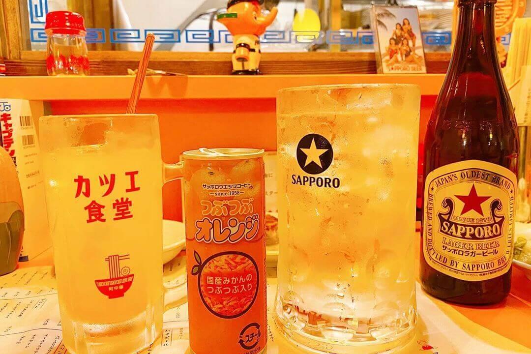 町中華 末蔵カツエ食堂のつぶつぶオレンジサワー