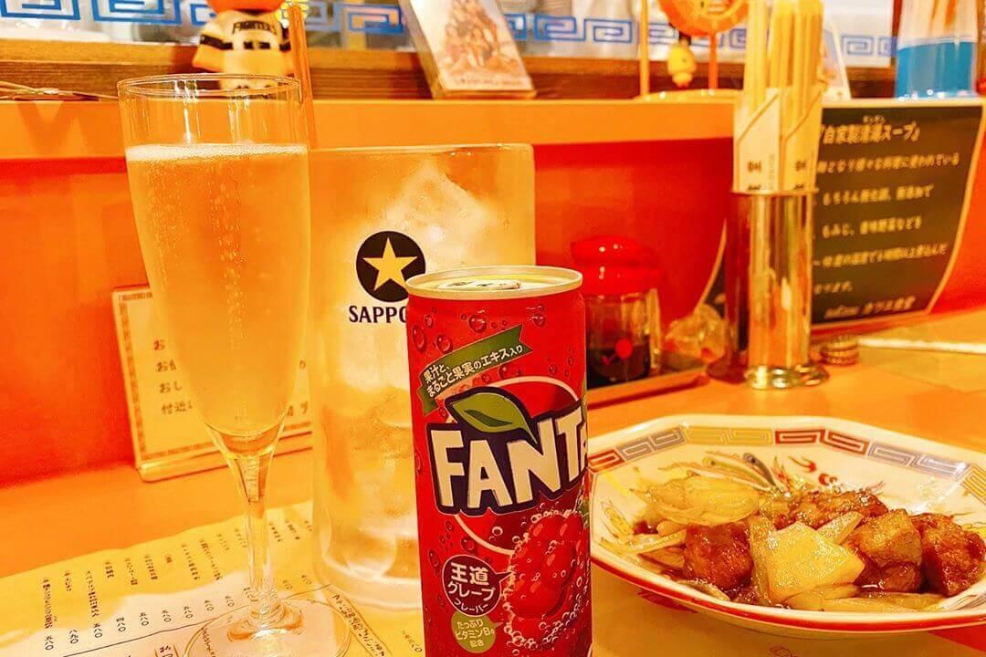 町中華 末蔵カツエ食堂の酢豚とファンタ