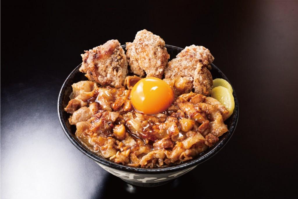 """すた丼の『唐揚げ合盛り""""肉汁油""""すた丼』"""
