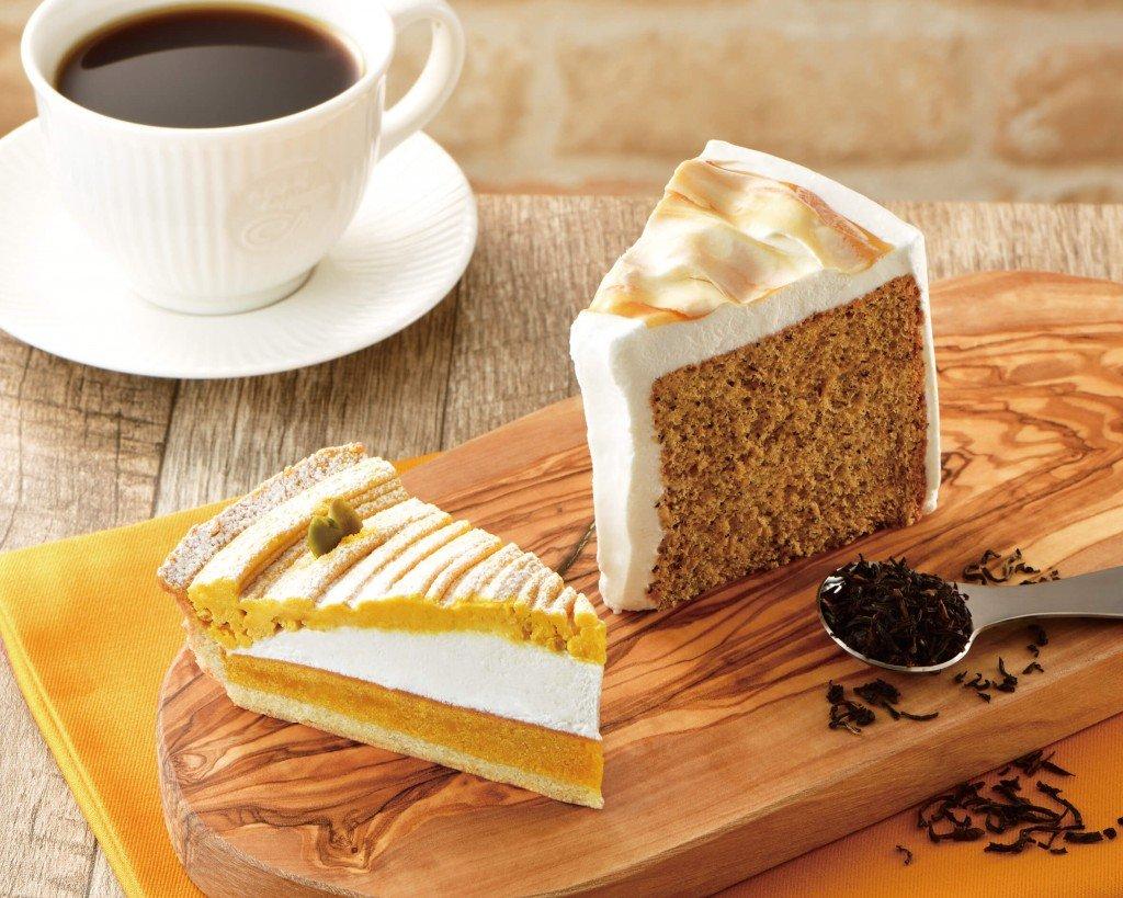 カフェ・ド・クリエの『かぼちゃのタルト』『紅茶のシフォンケーキ』