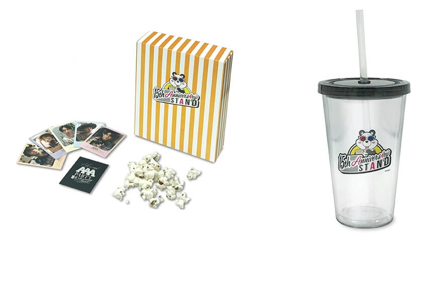 THANX AAA PARTY ~15th AnniversAry stAnd~の『ポップコーン(ビジュアルカード付き、全5種)、ストロータンブラー』