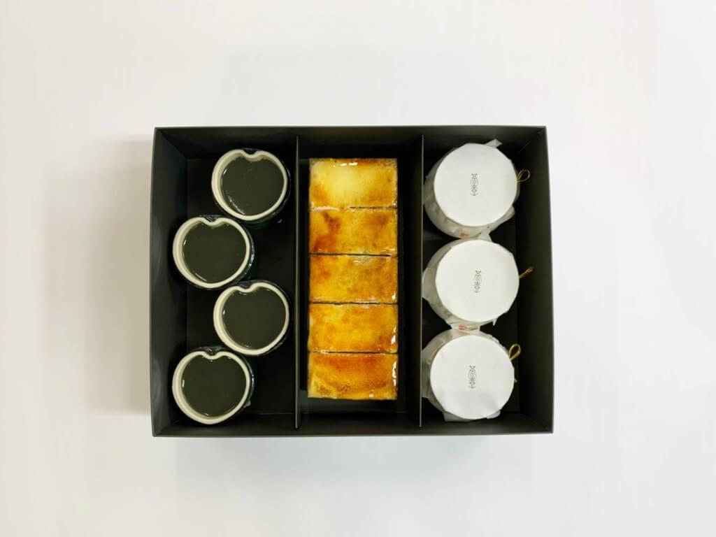 京はやしや『抹茶のサンマルクと抹茶水羊羹と茶壺プリン』