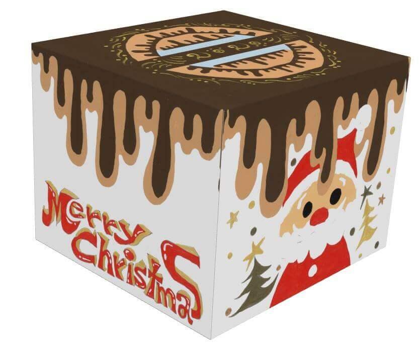 ファミリーマートのクリスマスケーキ2020『SHINGO to クリスマス!生チョコとホワイトチョコプリンのおいし~い!! ショコラケーキ』の箱