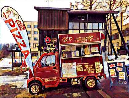 『あしたのげいもり』の移動販売車Olha2号