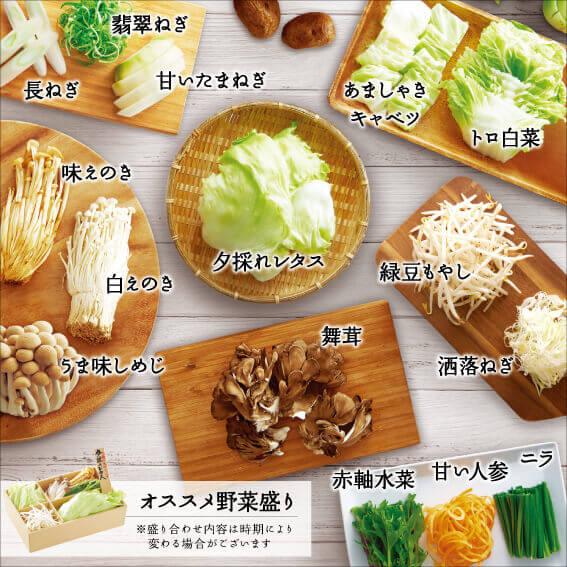 しゃぶしゃぶ温野菜の『国産野菜食べ放題』のラインナップ