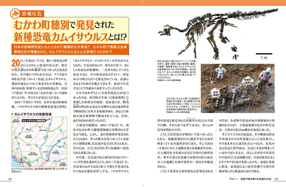『北海道のトリセツ 地図で読み解く初耳秘話』-新種恐竜カムイサウルスページ例