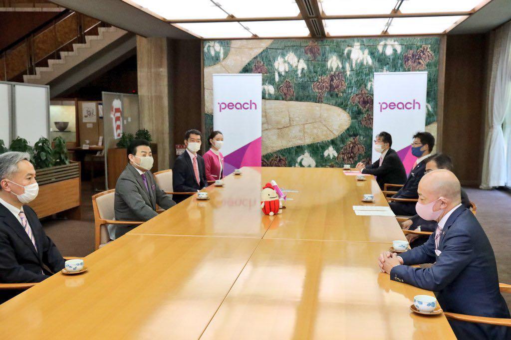 Peach代表取締役森CEOと愛知県大村知事