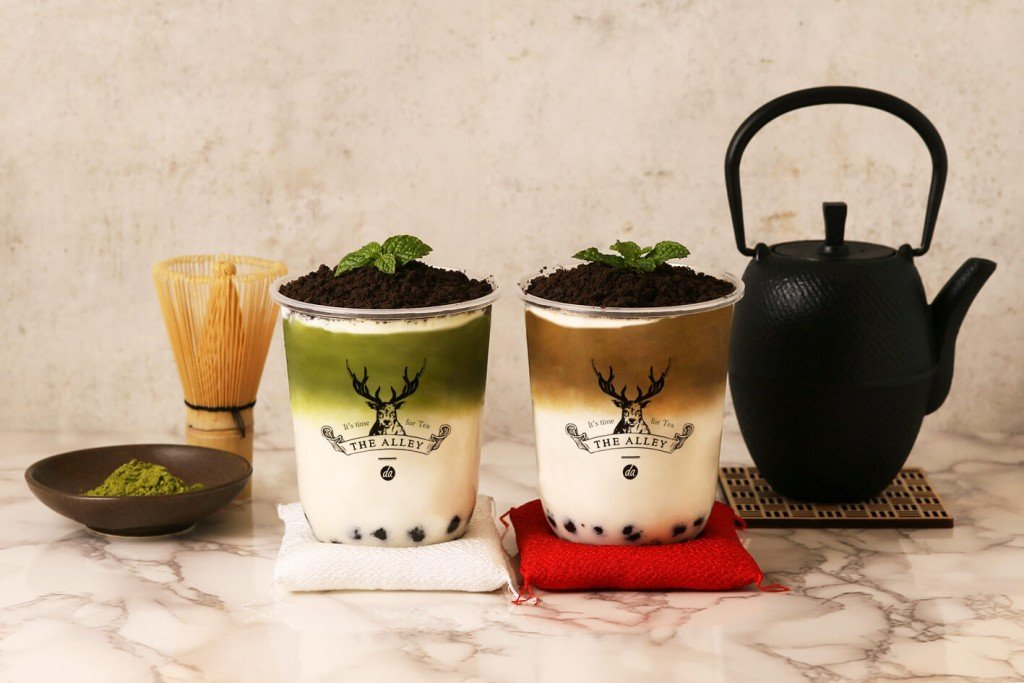 THE ALLEY(ジ アレイ)『盆栽抹茶タピオカラテ』、『盆栽ほうじ茶タピオカラテ』