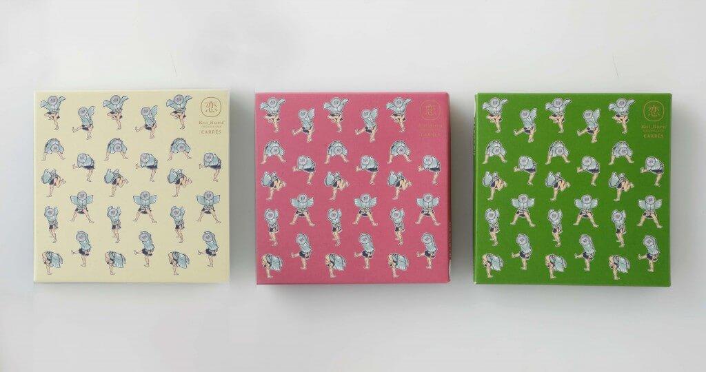 石屋製菓『恋するチョコレート キャレ 9枚入』-葛飾北斎 北斎漫画パッケージ 全3種