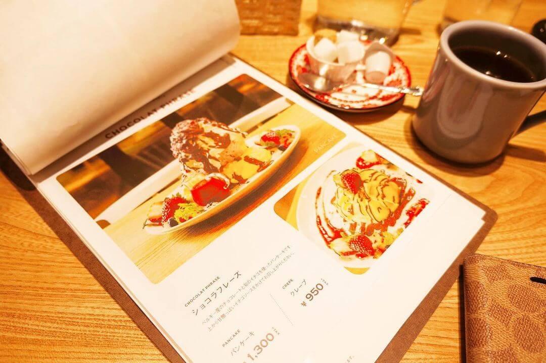 カフェブルー シタッテサッポロ『ショコラフレーズ パンケーキ』のメニュー