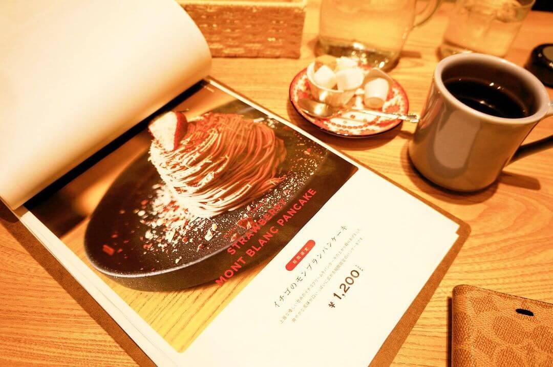カフェブルー シタッテサッポロ『イチゴのモンブランパンケーキ』のメニュー